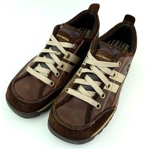 Skechers Brown Leather Suede Lace Up
